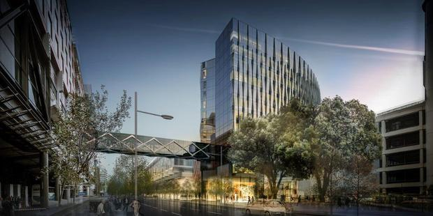 An artist impression of SkyCity's New Zealand International Convention Centre hotel. The build is part of a boom in new hotels to help Auckland cope with visitor numbers. Photo / supplied.