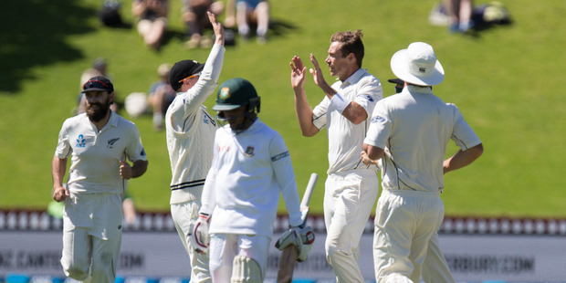 New Zealand bowler Tim Southee celebrates with his team. Photo / Mark Mitchell.