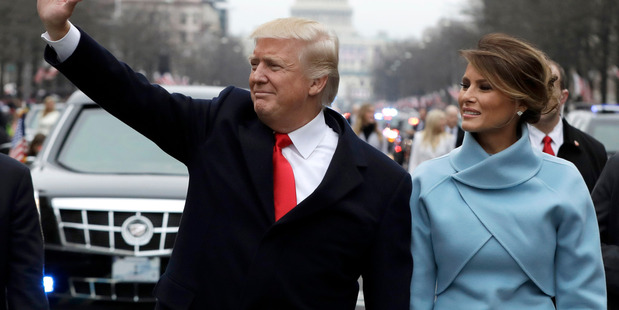 US President Donald Trump and first lady Melania Trump on inauguration day. Photo / Getty