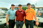 Shaun Jones (right) with Sean Riordan (left) and Justin Morris before the three-way playoff for the inaugural one-day Duke of Glouchester Pro-am at Napier Golf Club yesterday. PHOTO/Warren Buckland