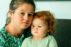 Rachel Burt, Havelock North, with her 17 month old daughter Elliott who is still suffering from the gastro outbreak. Photo / Warren Buckland