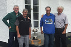 Some 24 years after he last won the title with Aramoho, Taradale skip Ces Bell, left, again claimed the Taranaki Open men's fours crown, teaming with Frank Grantham, Ken Smith and Fred Ellison.