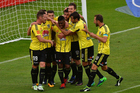 The Phoenix celebrate a goal during the A-League - Phoenix v Melbourne Victory football match at Westpac Stadium in Wellington. Photo / Photosport.