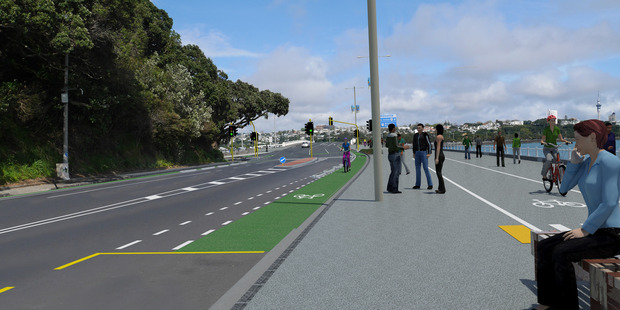 The proposed outlook for the intersection of Tamaki Drive and Ngapipi Rd. Photo / Auckland Transport
