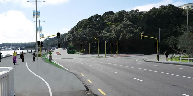 The proposed outlook for the Tamaki Drive and Ngapipi Rd intersection. Photo / Auckland Transport