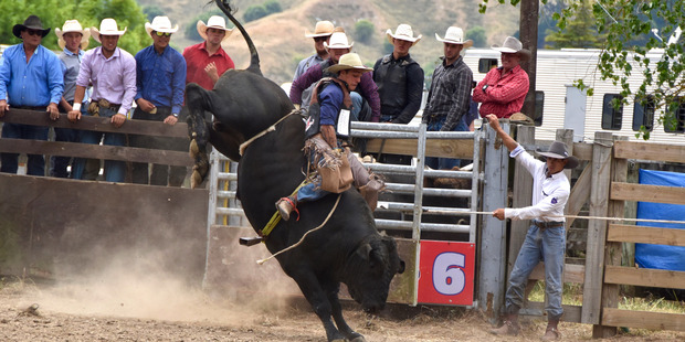 Ernie Rika (Rotorua) competing in the Open Bull Ride at the 2017 Wairoa A&P Rodeo. Photo / Sue Wilson