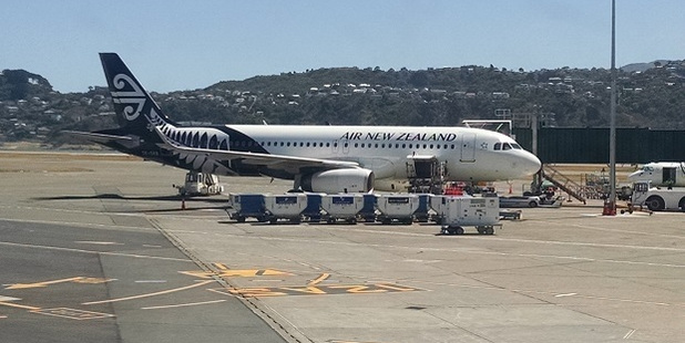 The Air NZ A320 at Wellington Airport. Photo / elisfkc