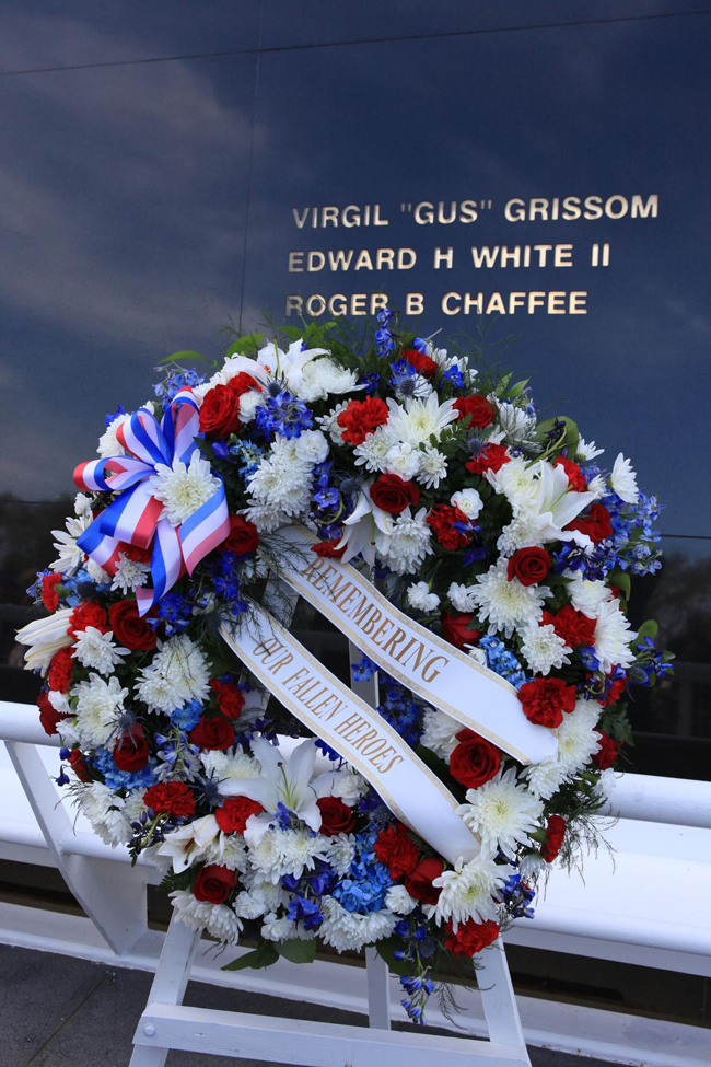 Family members of fallen astronauts placed a wreath at the Space Mirror Memorial at the Kennedy Space Center's NASA Day of Remembrance ceremony. Photo / Nasa