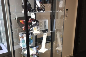 The remains of the stock in the Adidas display cabinet. Photo / Supplied