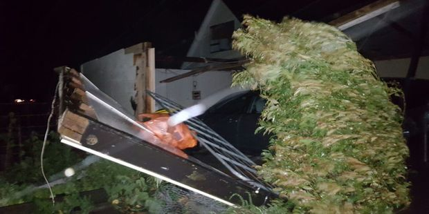 One reader sent in this pic of their carport gone in Drury. Photo / Katie Guy