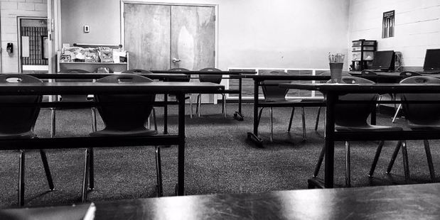 The sight that greeted teacher Adam Heath Avitable when no students turned up to his class.