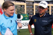 Lee Westwood was far from impressed when the awkward reporter began by calling him Liam. Photo / Twitter.