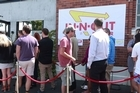 People queued for over an hour to get a taste of an In-N-Out Burger, which popped up in Auckland today.  The well-known American food chain set up a temporary store in the Pocket Bar & Kitchen in Grey Lynn this morning and it only took a couple of tweets to cause the queue to stretch around the corner.
