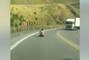 Travis Scott was bored so decided to ride a luge down the Kaimai Range, despite oncoming traffic.