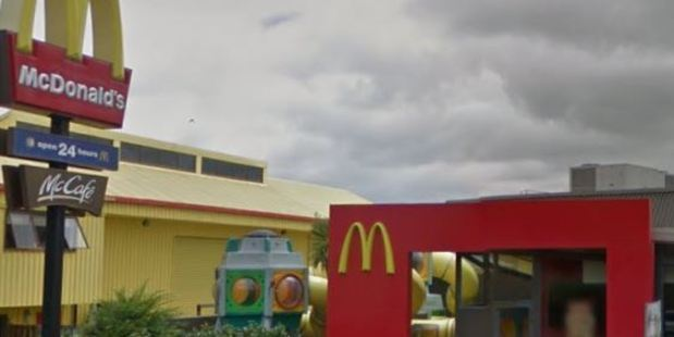 Three men wearing balaclavas and armed with metal bars made off with cash in a brazen robbery of a McDonald's drive-through restaurant in Huntly. Photo: Google Street View