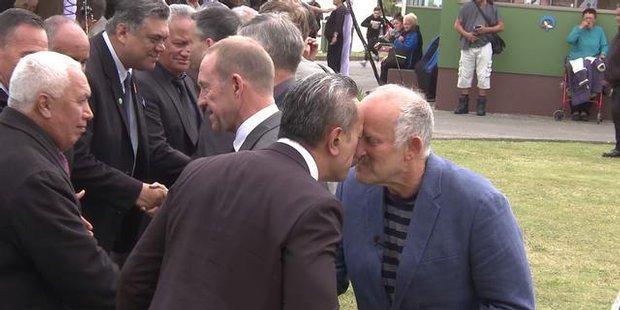 Watch Gareth Morgan and Winston Peters trade insults at Ratana
