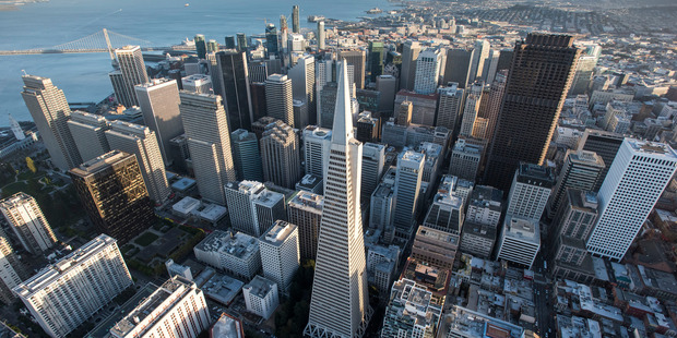 The Transamerica Pyramid building (centre) stands in the skyline of downtown San Francisco. Photo / Bloomberg