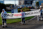 Environmentalists stage a protest at Fonterra's South Canterbury factory.  Picture / Supplied.