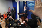 White House Press Secretary Sean Spicer takes questions at a press briefing today. Photo / Washington Post