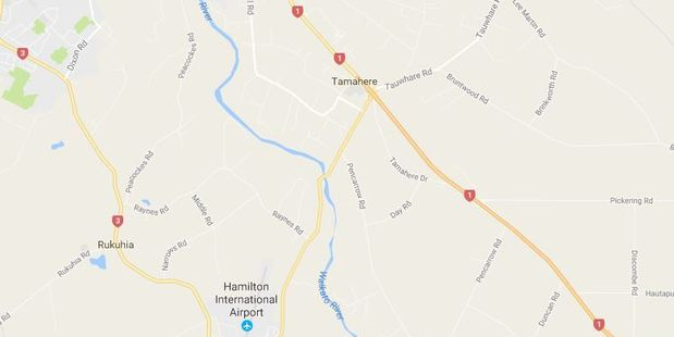 The car went around a bend near Tamahere and lost control. Photo / Google Maps