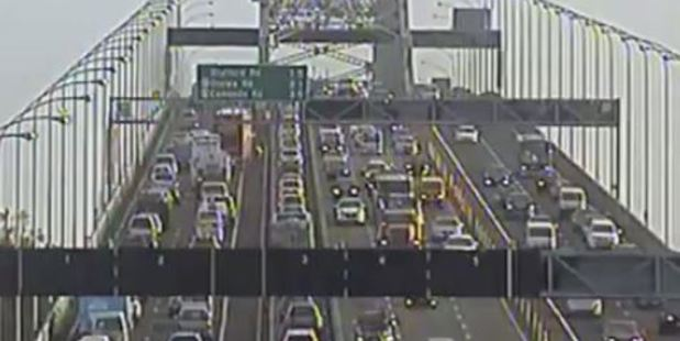 Loading Auckland traffic is down to a crawl through its central motorway network after a truck broke down on the Harbour Bridge. Photo / NZTA