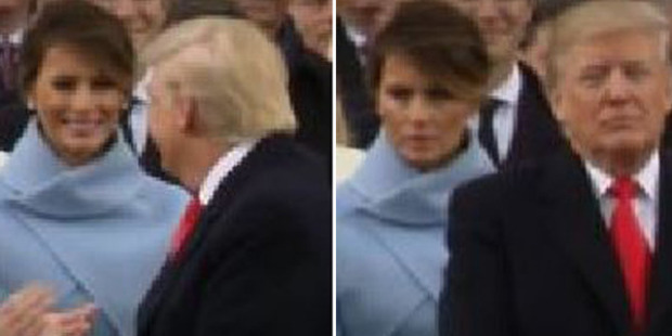 Loading Melania Trump's reaction behind Donal Trump's back has been captured on film. Photo: @Marv_Vien/Twitter