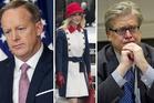 Sean Spicer on Tuesday; Kellyanne Conway on Inauguration Day; Steven Bannon on Tuesday. Photo / Matt McClain, Washington Post; Ron Sachs, pool via Bloomberg; Jabin Botsford, Washington Post.