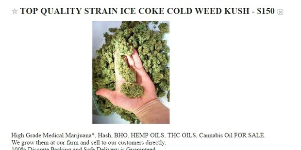 Drugs are being blatantly advertised on Craigslist in New Zealand.