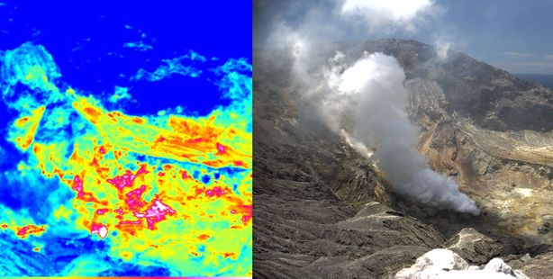A view of active vents from White Island's south-west rim using new thermal imaging technology. Photo / GeoNet