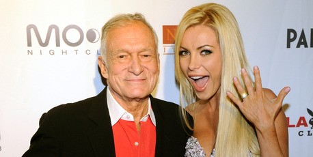 Playboy founder Hugh Hefner (L) and his fiancee Crystal Harris celebrate Hefner's 85th birthday at the Palms Casino Resort April 9, 2011 in Las Vegas. Photo / Getty