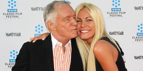 Playboy founder Hugh Hefner (L) and his wife Crystal Harris attend a premiere. Photo / Getty