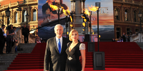 Director James Cameron (L) and actress Kate Winslet attend the Titanic 3D world premiere at the Royal Albert Hall on March 27, 2012 in London, England. Photo / Getty