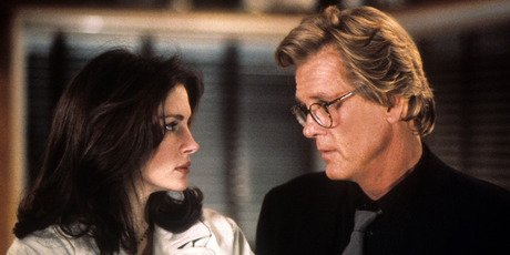 Nick Nolte and Julia Roberts staring at one an other in a scene from the film 'I Love Trouble', 1994. Photo / Getty