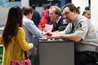 Border control at Auckland International Airport. Photo / Doug Sherring
