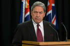 NZ First leader Winston Peters during his press conference at Parliament. Photo / Mark Mitchell
