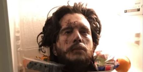 Harington placed a model of his severed head in the fridge. Photo / screenshot