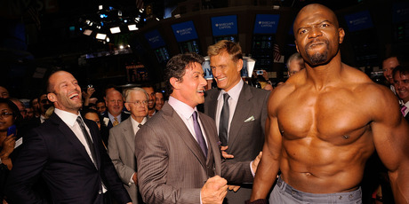 Actors Jason Statham, Sylvester Stallone, Dolph Lundgren and Terry Crews attend the ringing of the opening bell at the New York Stock Exchange on August 19, 2010. Photo / Getty