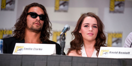 Jason Momoa and Emilia Clarke at the San Diego Convention Center in 2011. Photo/Getty