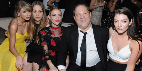 Recording artist Taylor Swift, musician Este Haim, actress Jaime King, producer Harvey Weinstein and recording artist Lorde attend The Weinstein Company party. Photo / Getty