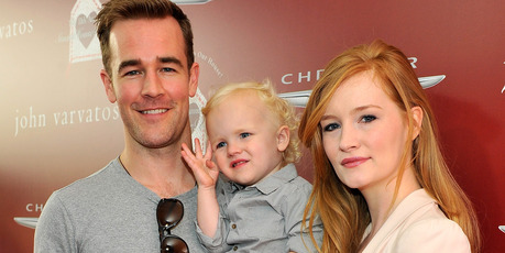 Actor James Van Der Beek, son Joshua Van Der Beek, daughter Olivia Van Der Beek, and wife Kimberly Van Der Beek. Photo / Getty