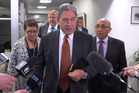 Winston Peters and his NZ First negotiating team, from left, MP Tracey Martin, adviser Paul Carrad, chief-of-staff David Broome and deputy leader Ron Mark returning after one of their meetings.