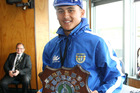 Hastings West centre James Craig with the Taupo Trophy for the Ross Shield player of the tournament. Photo/Duncan Brown