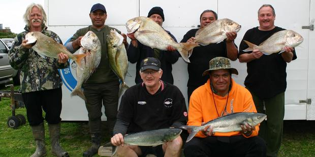 Anglers enjoyed a great day out on the water during the field day. Rear left: Ken Tyler, Skarn Hokai, Dave Hallett, Miko Rogers and Mark Frost. Front, Phil Kake and Dan Needham.