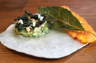 The cactus guac that came with a deep-fried avocado leaf. Photo / Getty Images