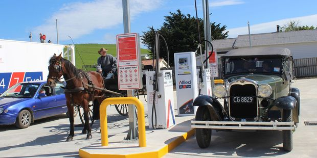 The line up at the Pongaroa pumps. The Model A Ford is owned by Donald and Marlene Robbie of Tiraumea, but had previously been owned by George Wardle of Pongaroa.