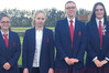 The HGHS team (from left), Brooke Murphy, Morgan Slade, Isabella Jenkins and Kate Rowland, shot well despite appalling weather at the national schools' clay target shooting championships. Photo / Supplied