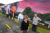 GOT THE PICTURE: Whangarei Bowls members with the club's new mural, from left, Wally Yovich, president Laurel Jones and project manager Barrie Jones. Photo/John Stone