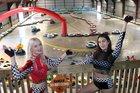 Rebekah Adams and Laura Mclean helped open the Blastacars track on October 18.