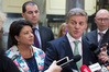 Bill English, with Paula Bennett and chief whip Jami-Lee Ross, after their caucus at Parliament today. Photo / Mark Mitchell