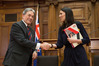 NZ First leader Winston Peters and Prime Minister elect Jacinda Ardern shaking hands after signing their coalition agreement at Parliament. Photo / Mark Mitchell